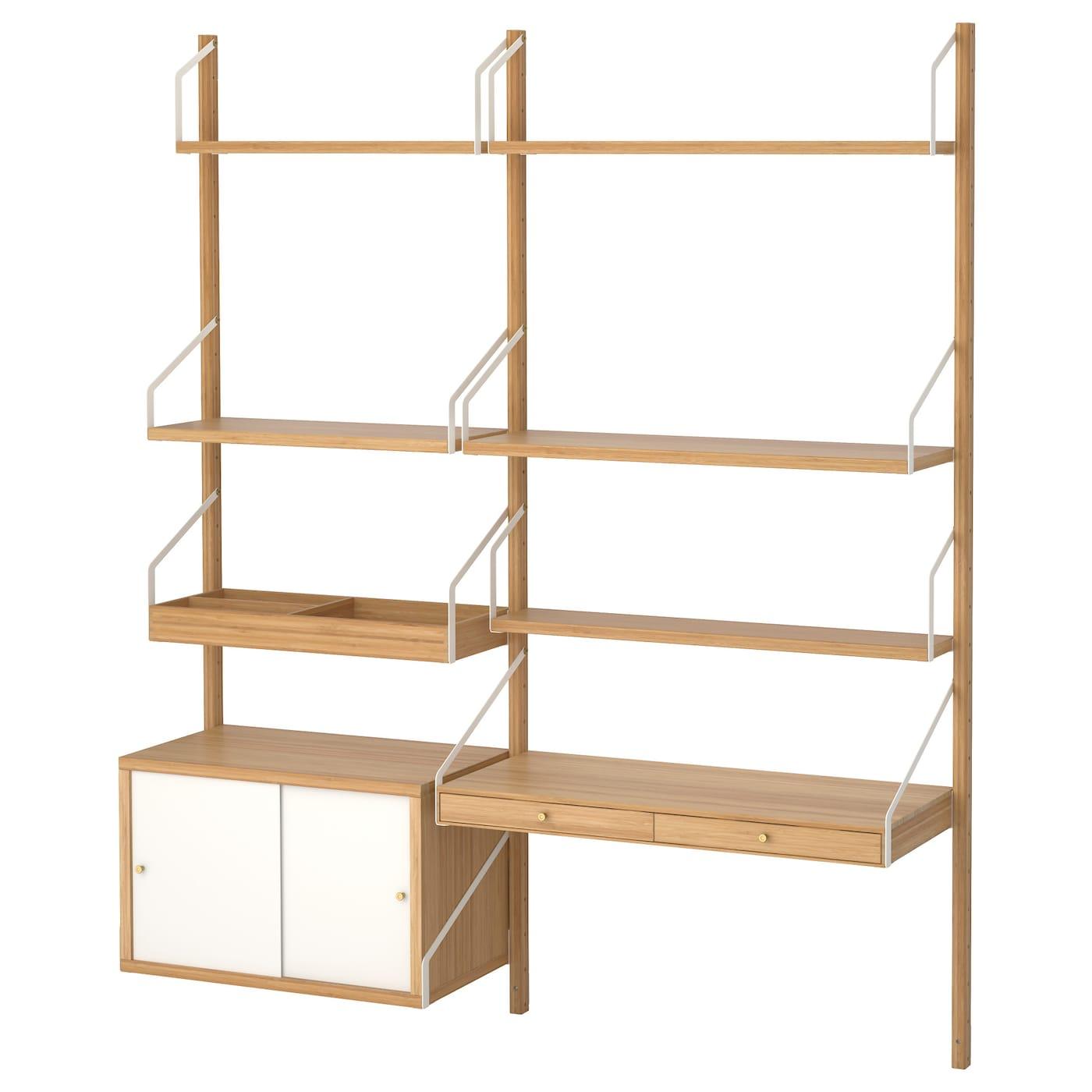 svaln s combinaison de bureau murale bambou blanc 150x35x176 cm ikea. Black Bedroom Furniture Sets. Home Design Ideas