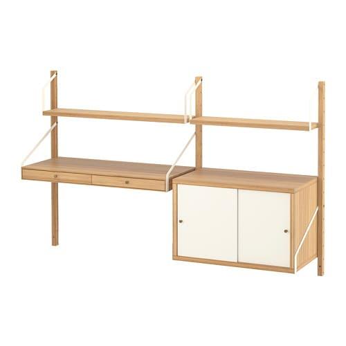 Svalnas Combinaison De Bureau Murale Bambou Blanc 150 X 35 X 93 Cm