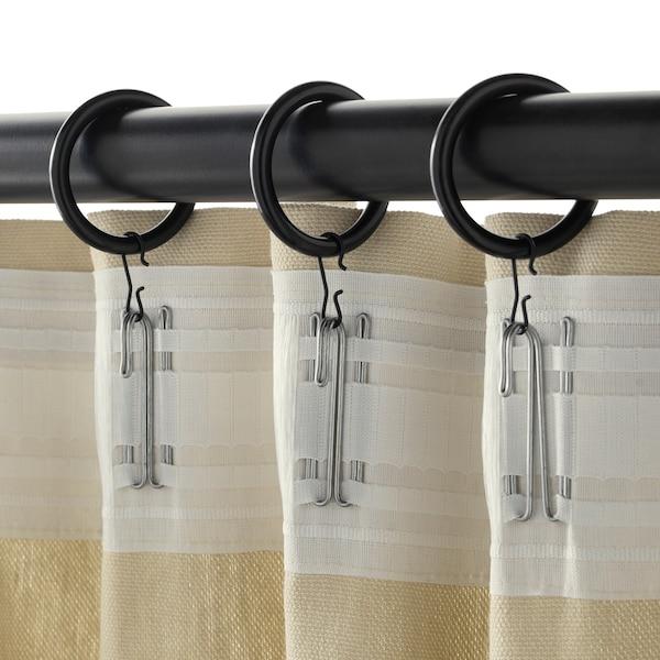 SYRLIG Anneau rideau+clip+crochet, noir, 38 mm