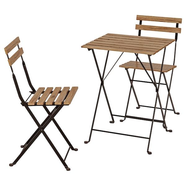 Table+2 chaises, extérieur TÄRNÖ noir acacia, teinté gris brun teinté brun  clair acier