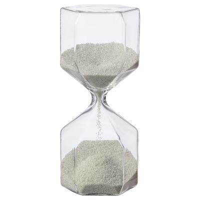 TILLSYN Sablier décoratif, verre transparent/blanc, 16 cm