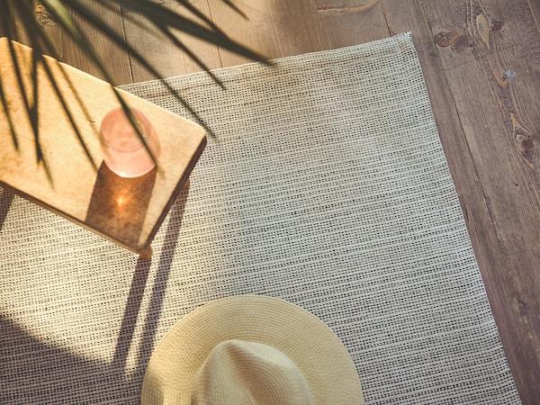 TIPHEDE Tapis tissé à plat, naturel/noir, 120x180 cm