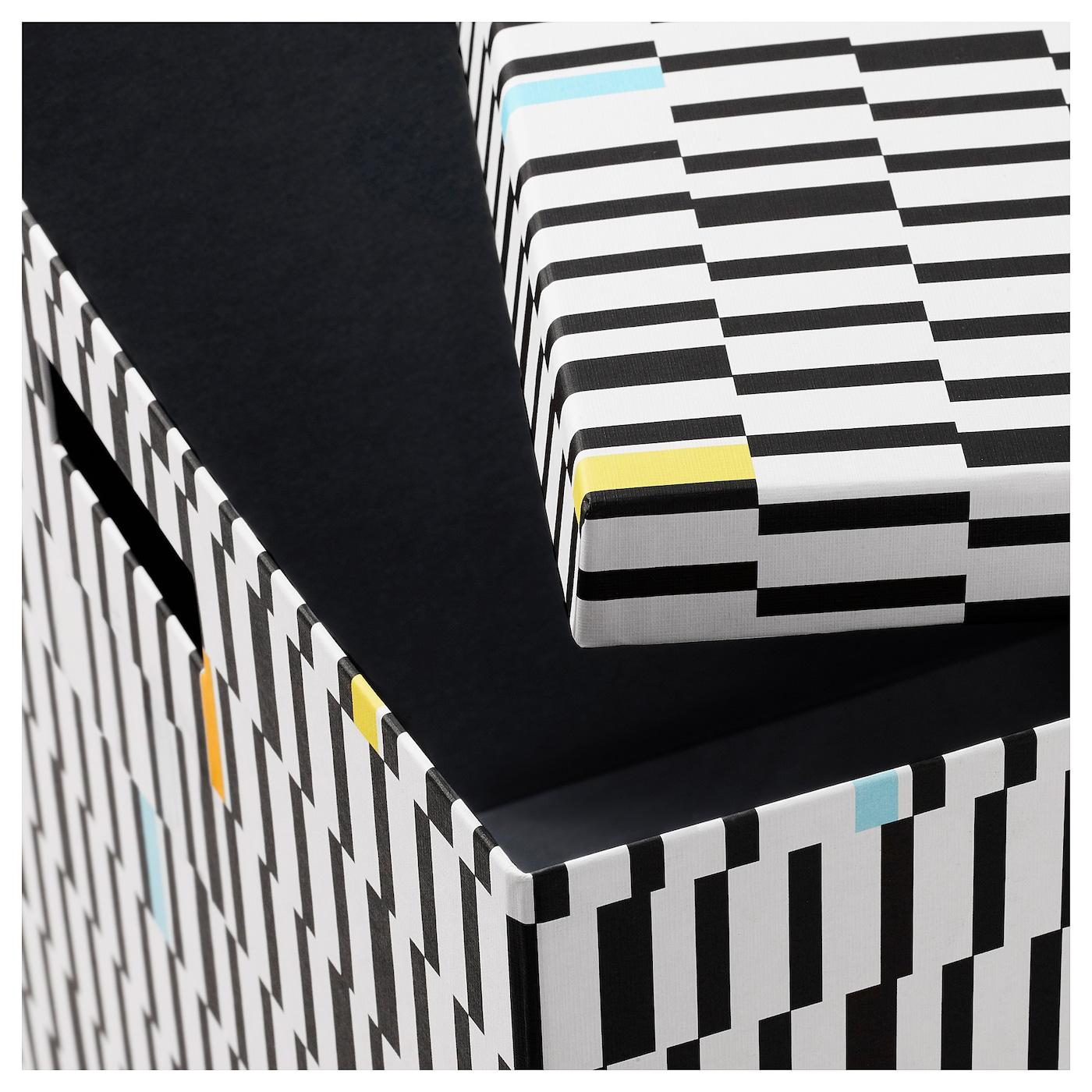 tjena bo te de rangement avec couvercle noir blanc 30x30x30 cm ikea. Black Bedroom Furniture Sets. Home Design Ideas