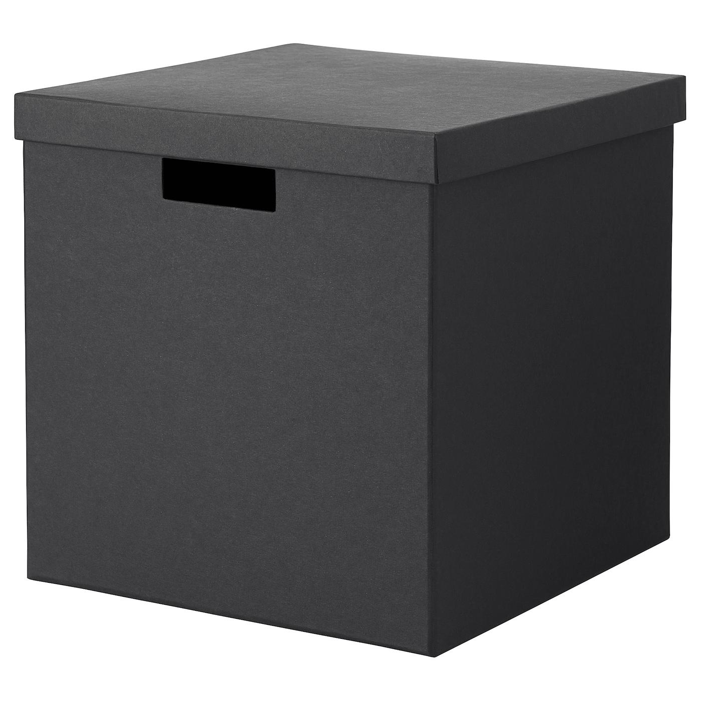 tjena bo te de rangement avec couvercle noir 30x30x30 cm. Black Bedroom Furniture Sets. Home Design Ideas