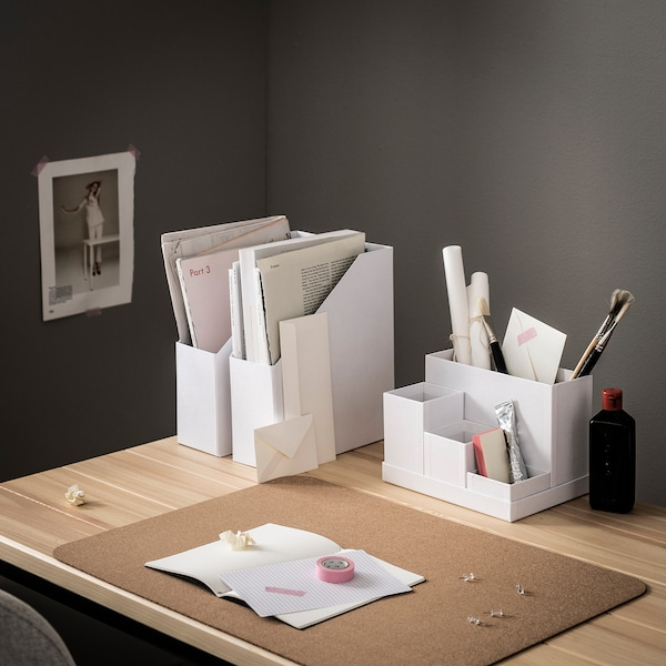TJENA Organiseur bureau, blanc, 18x17 cm