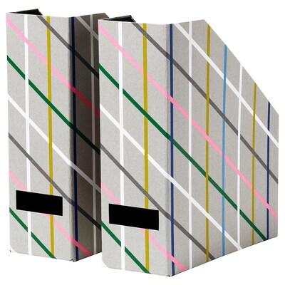 TJENA Range-revues, gris multicolore/carton
