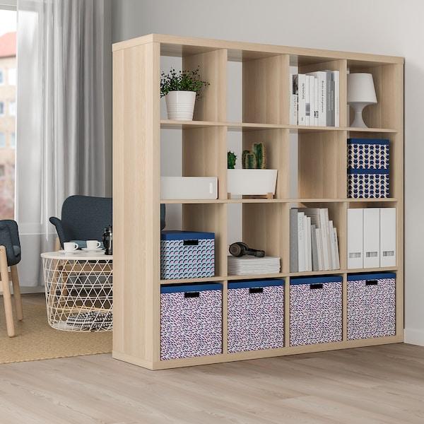 TJENA Boîte de rangement avec couvercle - bleu/lilas, à motifs - IKEA