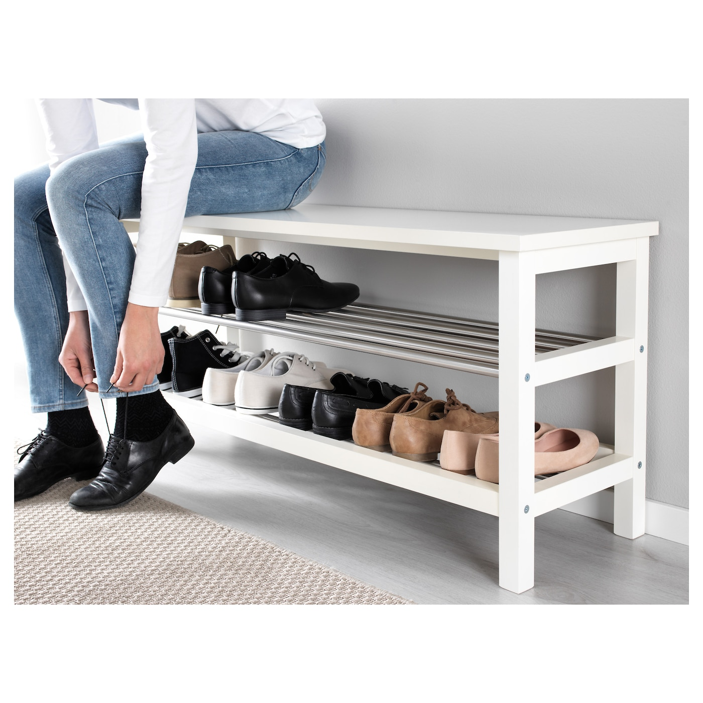 tjusig banc avec rangement chaussures blanc 108 x 50 cm ikea. Black Bedroom Furniture Sets. Home Design Ideas