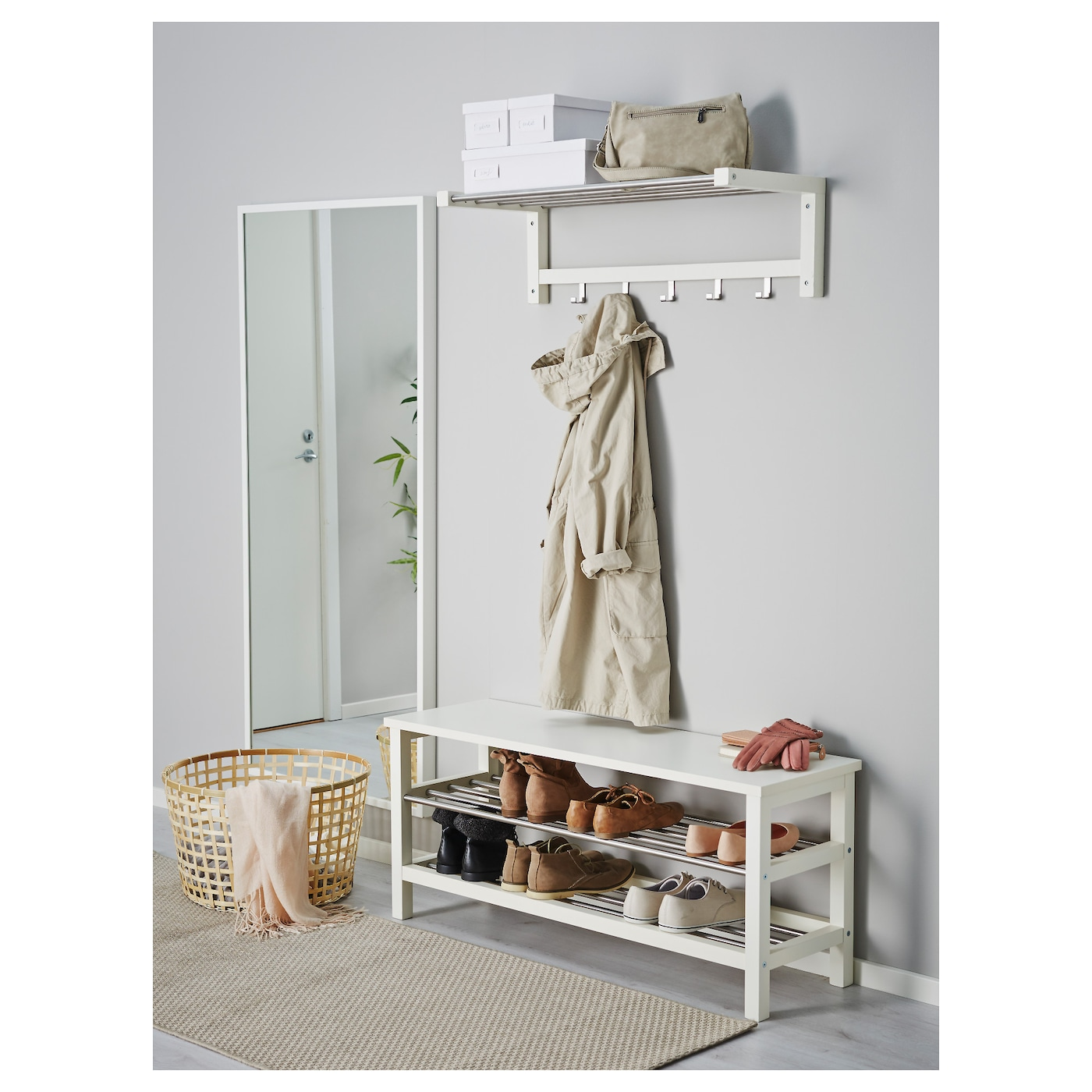 tjusig banc avec rangement chaussures blanc 108x50 cm ikea. Black Bedroom Furniture Sets. Home Design Ideas