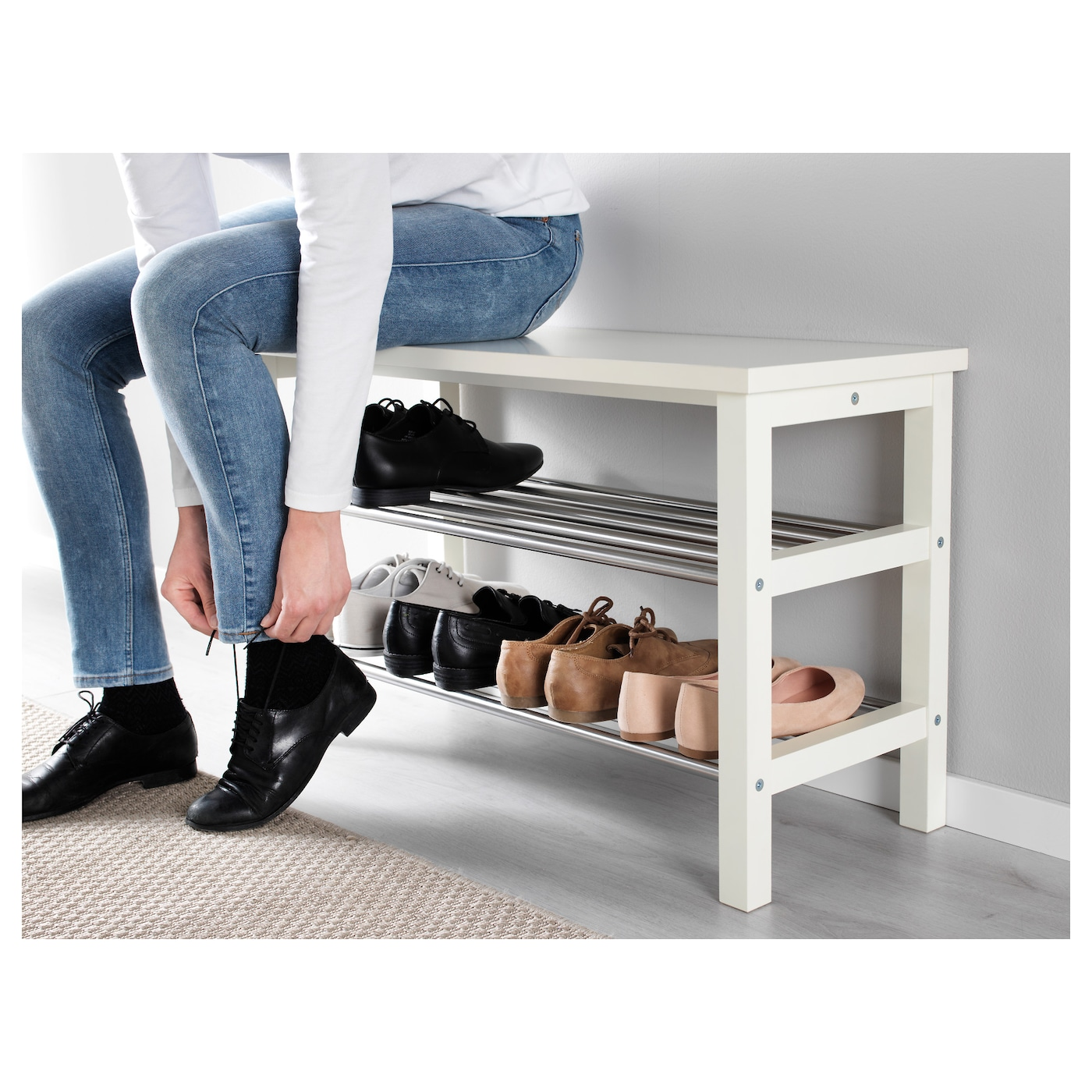 tjusig banc avec rangement chaussures blanc 81 x 50 cm ikea. Black Bedroom Furniture Sets. Home Design Ideas