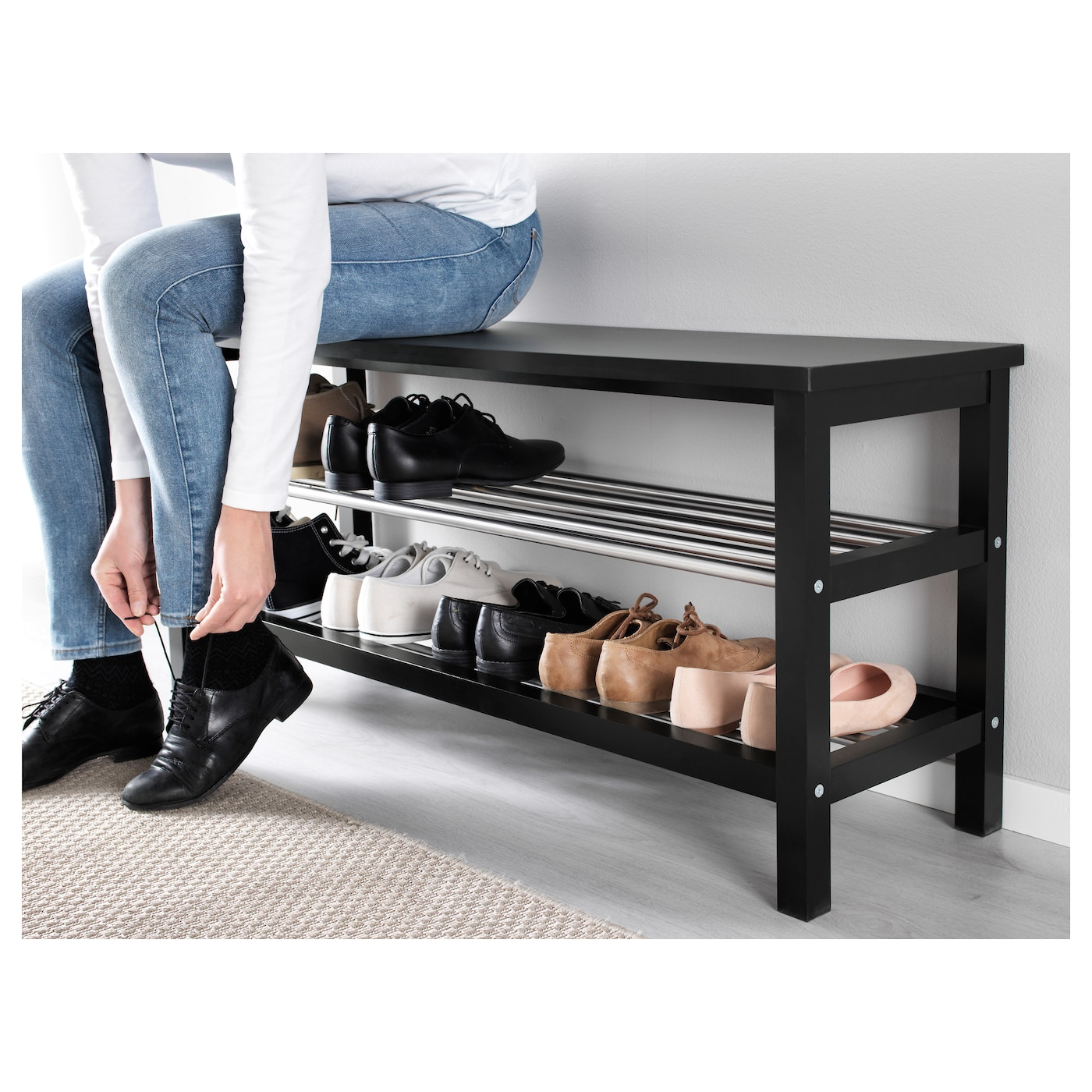 tjusig banc avec rangement chaussures noir 108 x 50 cm ikea. Black Bedroom Furniture Sets. Home Design Ideas