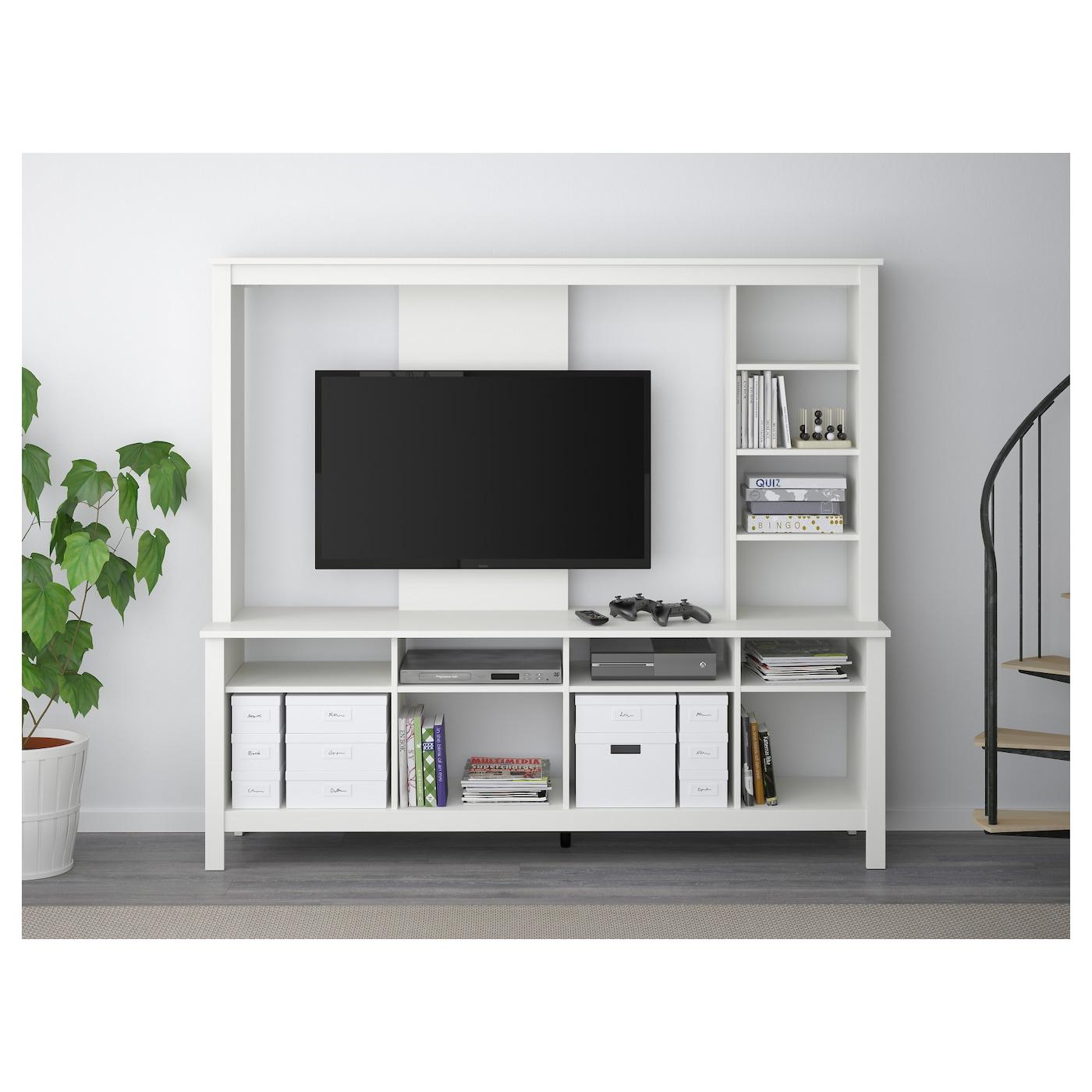 Tomn S Meuble Tv Blanc 183x48x163 Cm Ikea # Meuble Tv Avec Rangement Ikea