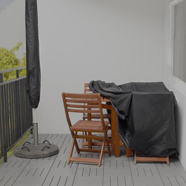 TOSTERÖ Housse mobilier extérieur, ensemble table+chaises/noir, 145x145 cm