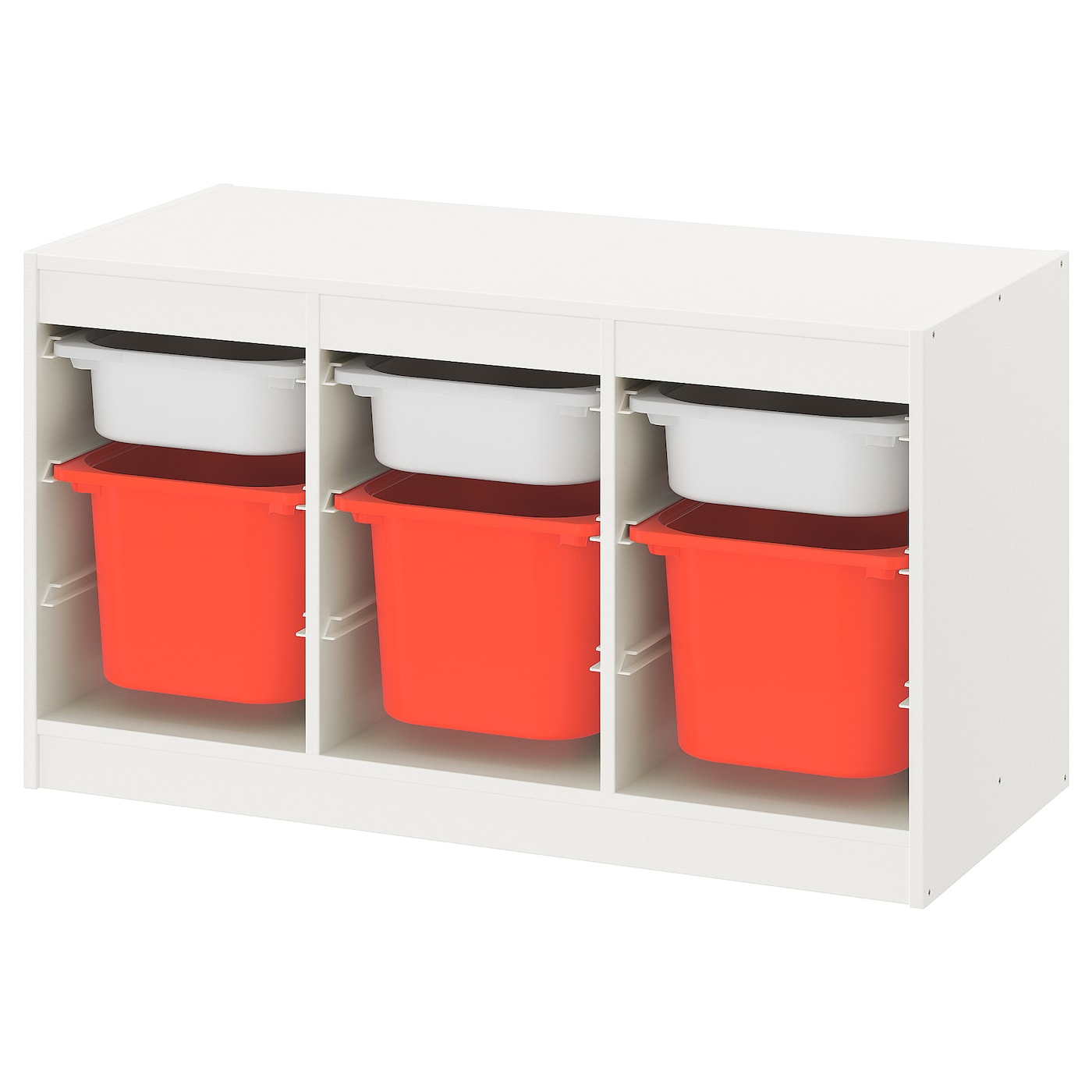 TROFAST Combi rangement+boîtes, blanc blanc, orange, 99x44x56 cm - IKEA
