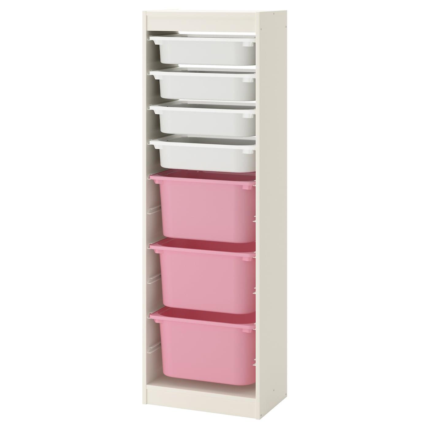 TROFAST Combi rangement+boîtes Blanc/blanc rose 46x30x145 cm - IKEA