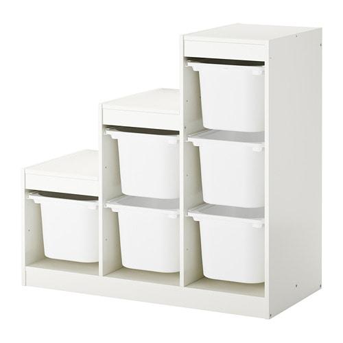 Trofast Combi Rangement Boites Blanc 99 X 44 X 94 Cm Ikea