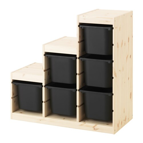 trofast combinaison de rangement pin noir ikea. Black Bedroom Furniture Sets. Home Design Ideas