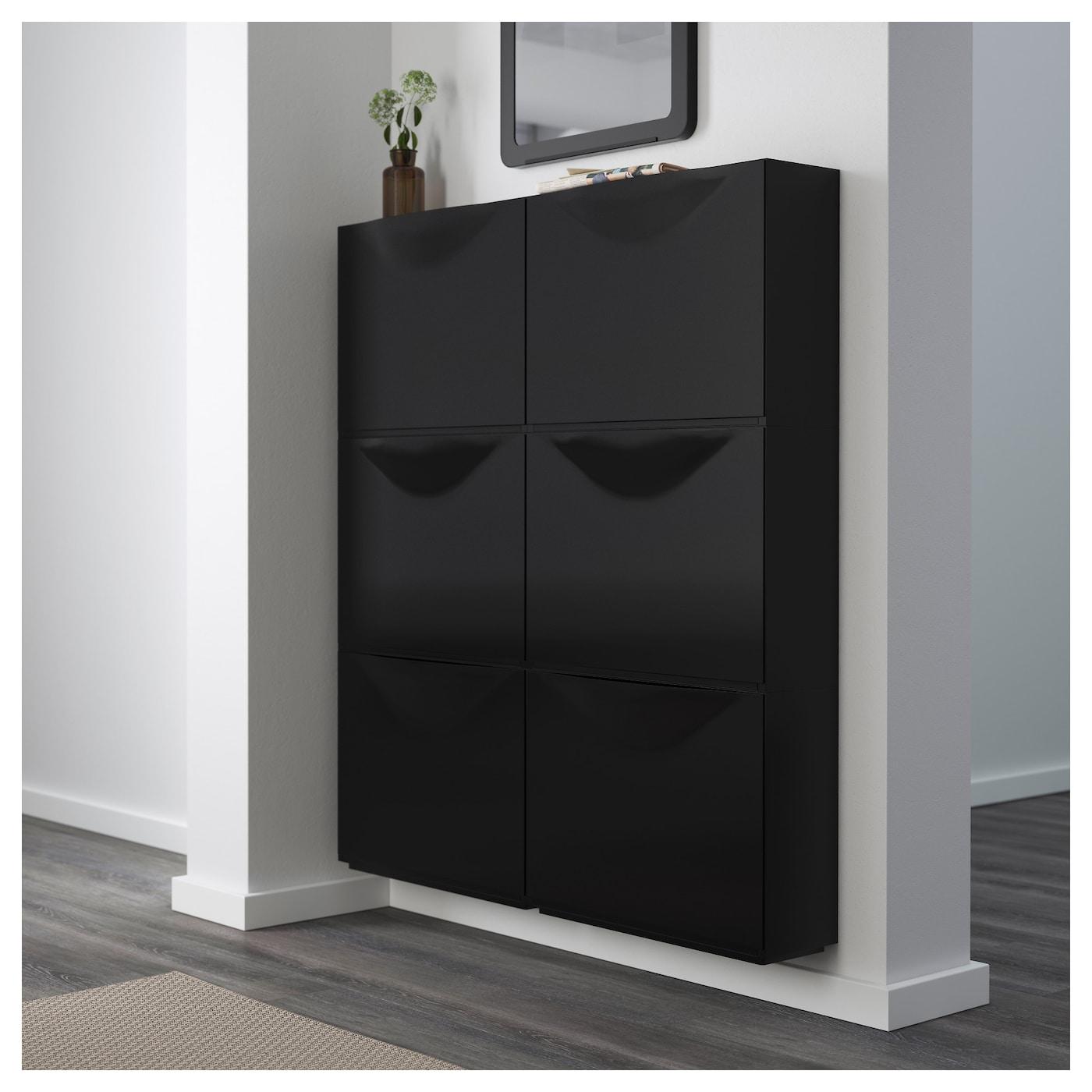 trones armoire chaussures rangement noir 51x39 cm ikea. Black Bedroom Furniture Sets. Home Design Ideas