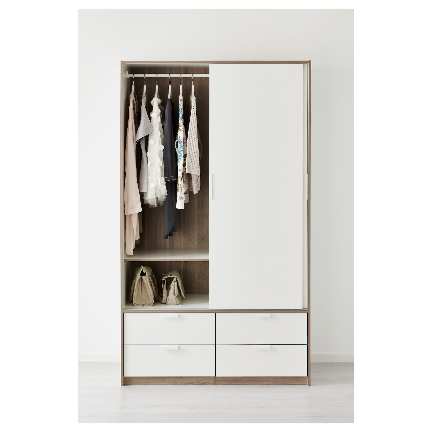 trysil armoire portes couliss 4tiroirs blanc 118x61x202 cm. Black Bedroom Furniture Sets. Home Design Ideas