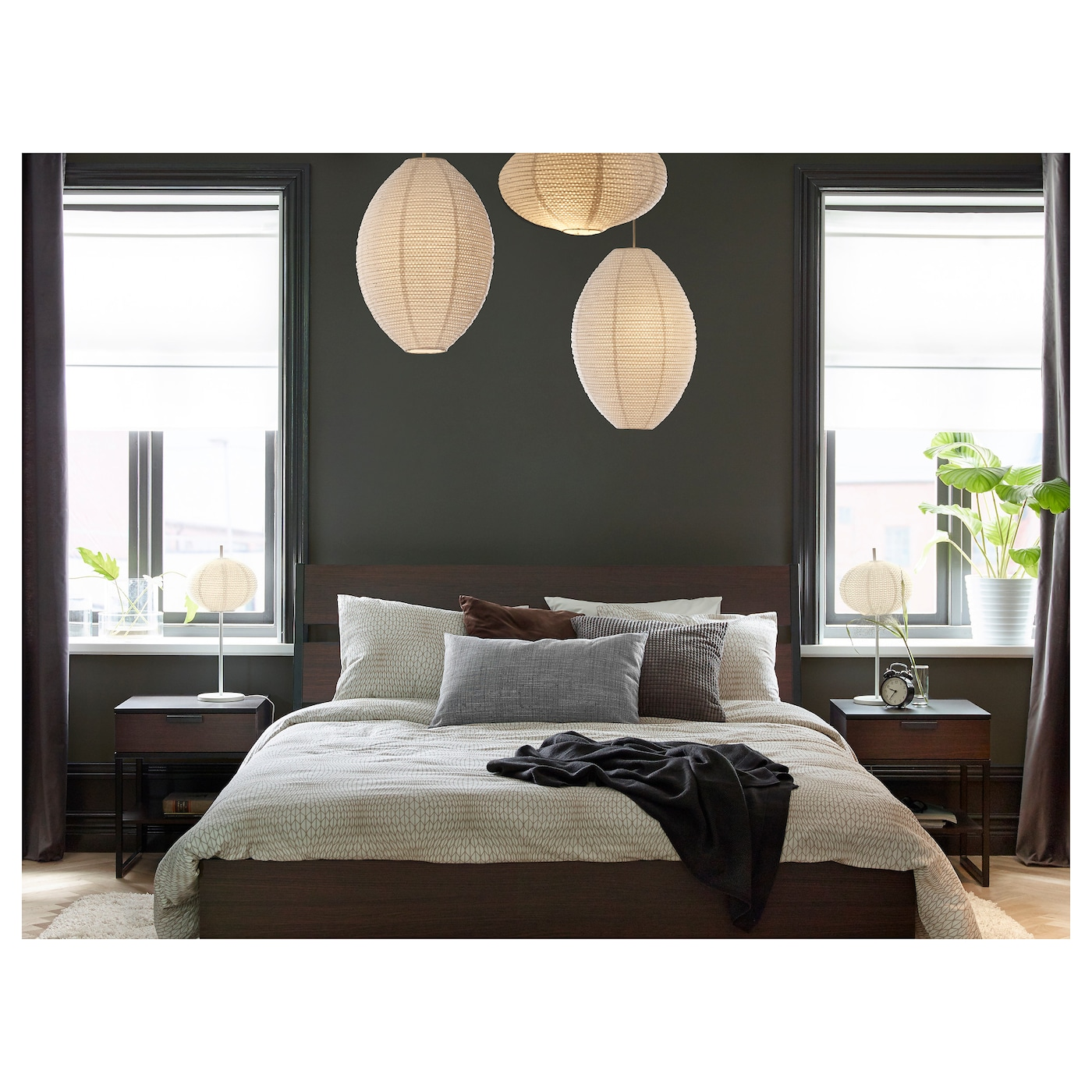 trysil cadre de lit brun fonc noir 140x200 cm ikea. Black Bedroom Furniture Sets. Home Design Ideas