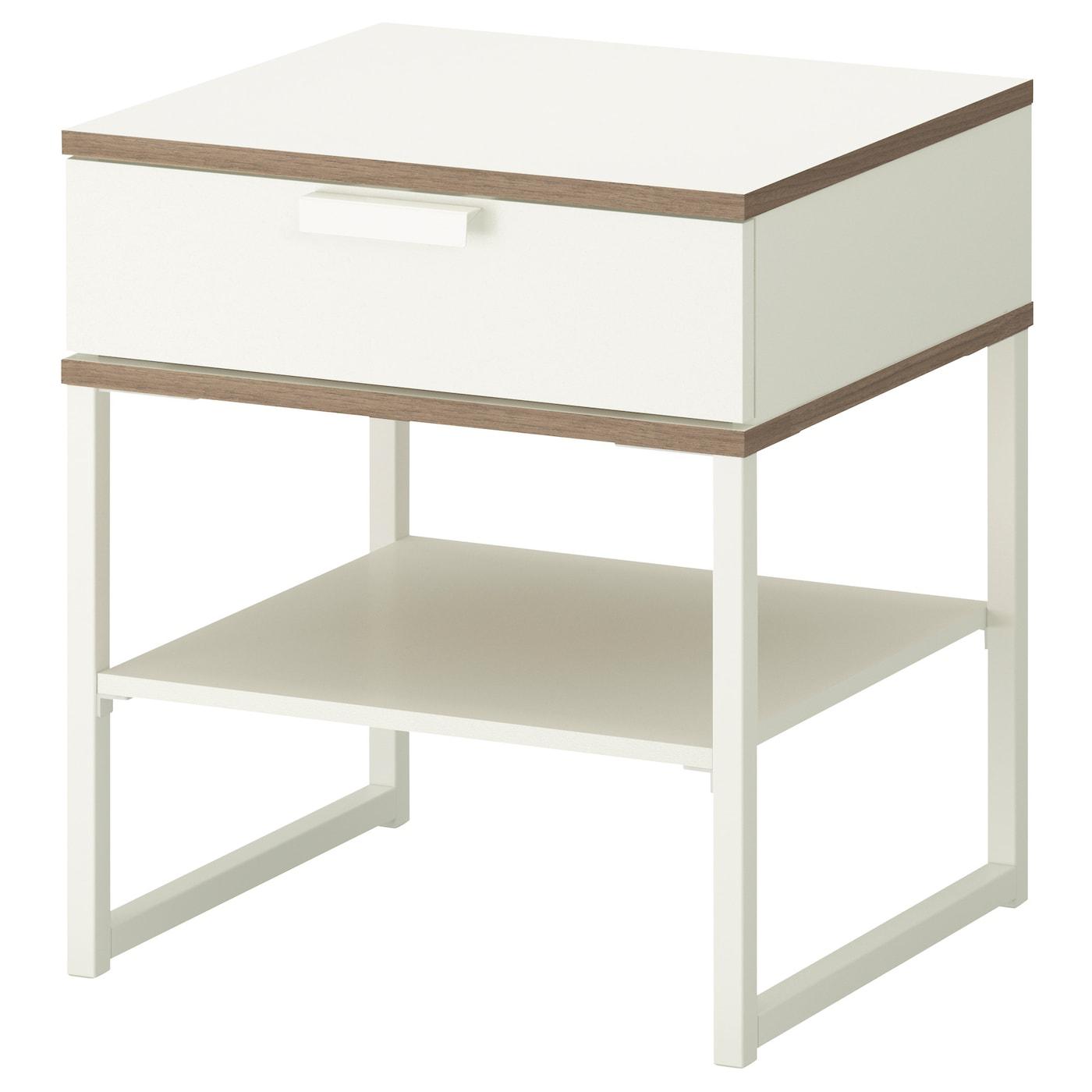 trysil table chevet blanc gris clair 45x40 cm ikea. Black Bedroom Furniture Sets. Home Design Ideas