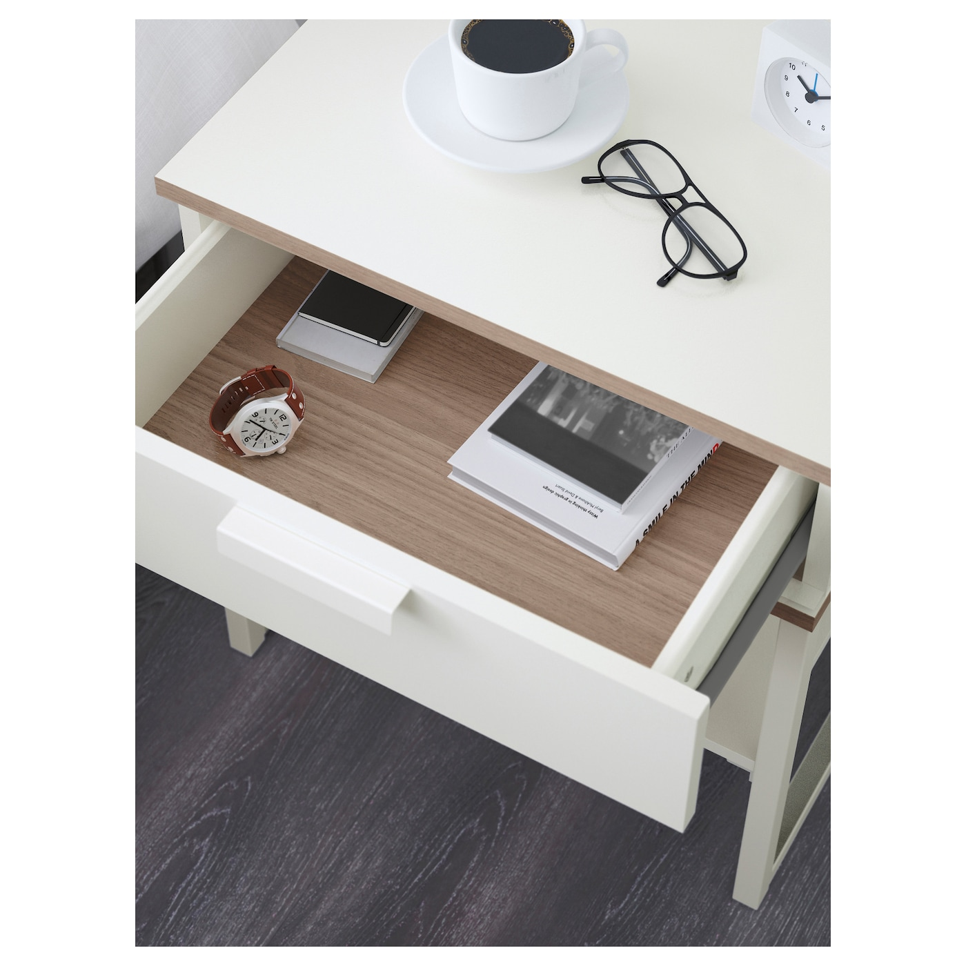 trysil table chevet blanc gris clair 45x40 cm ikea. Black Bedroom Furniture Sets. Home Design Ideas