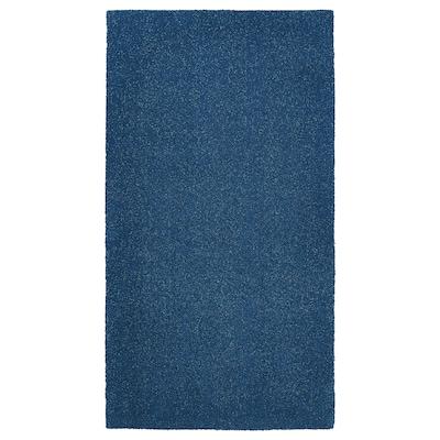 TYVELSE Tapis, poils ras, bleu foncé, 80x150 cm