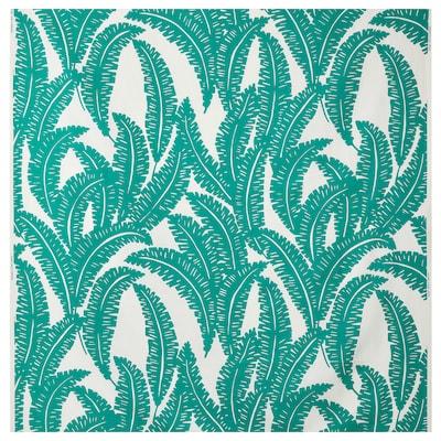 UGGLEMOTT Tissu au mètre, blanc/turquoise, 150 cm