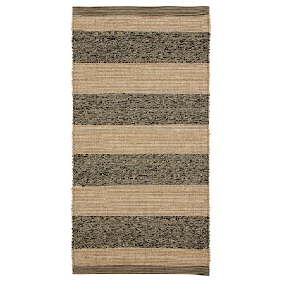 UGILT Tapis tissé à plat, noir/beige, 80x150 cm