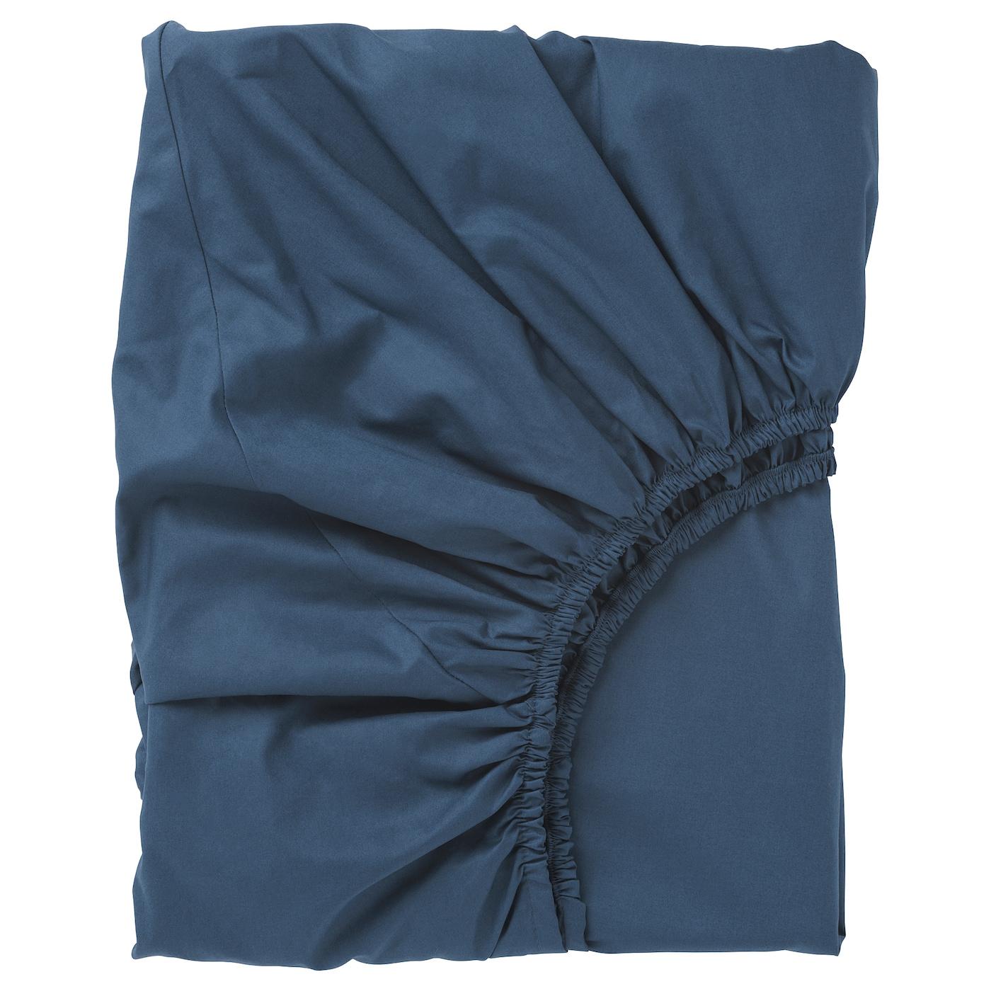 ullvide drap housse bleu fonc 160 x 200 cm ikea. Black Bedroom Furniture Sets. Home Design Ideas