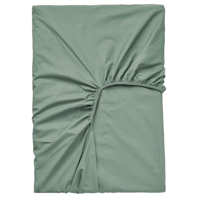 ULLVIDE Drap housse pour surmatelas, gris/vert, 90x200 cm