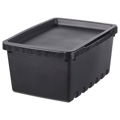 UPPSNOFSAD Boîte de rangement avec couvercle, noir, 25x17x12 cm/4 l