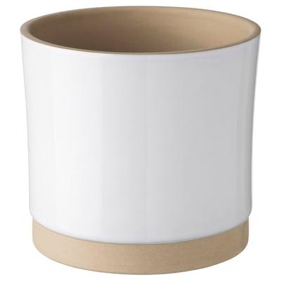 UPPVAKTA Cache-pot, blanc/naturel, 12 cm