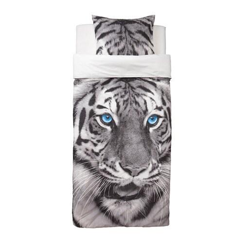 urskog housse de couette et taie tigre gris 150 x 200 50 x 60 cm ikea. Black Bedroom Furniture Sets. Home Design Ideas
