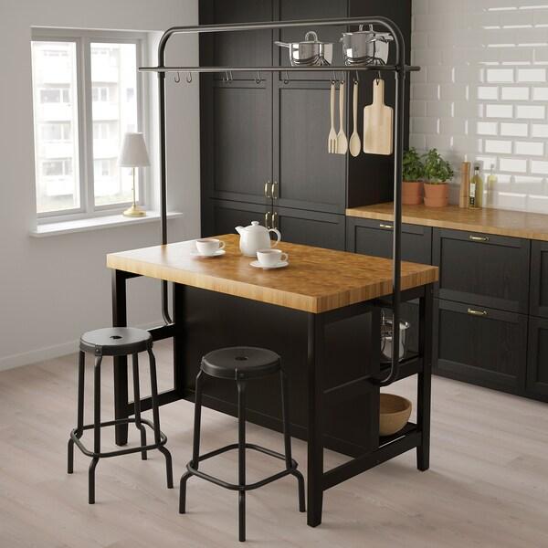 VADHOLMA îlot de cuisine avec casier noir/chêne 126 cm 79 cm 90 cm 193 cm