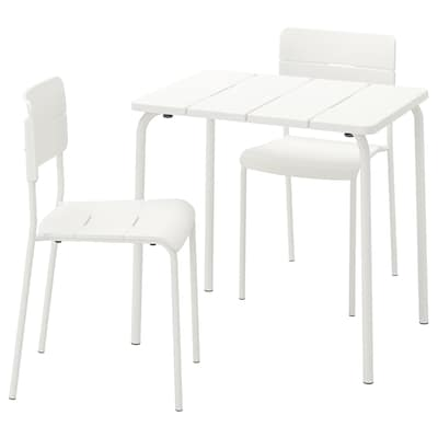 VÄDDÖ table+2 chaises, extérieur blanc