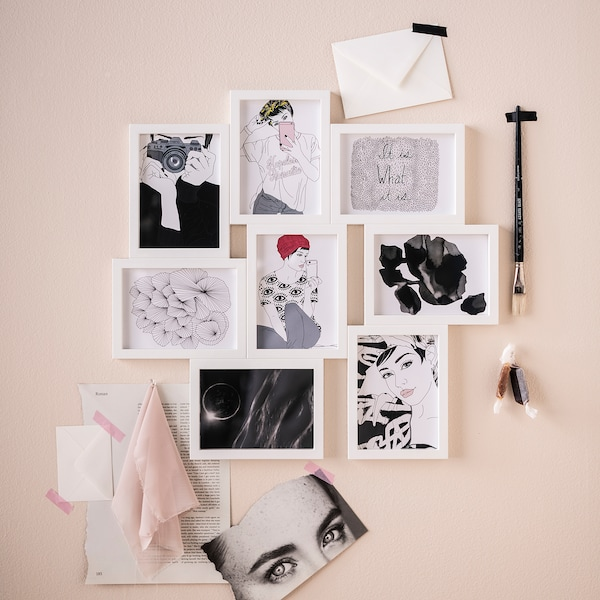 VÄXBO Cadre pêle-mêle pour 8 photos, blanc, 13x18 cm