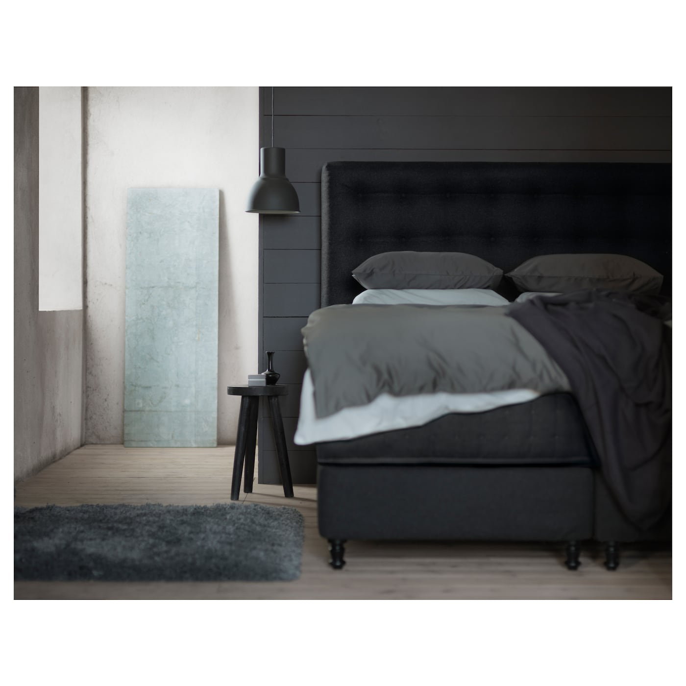 vallavik lit sommier hyllestad ferme tuss y gris 180x200 cm ikea. Black Bedroom Furniture Sets. Home Design Ideas