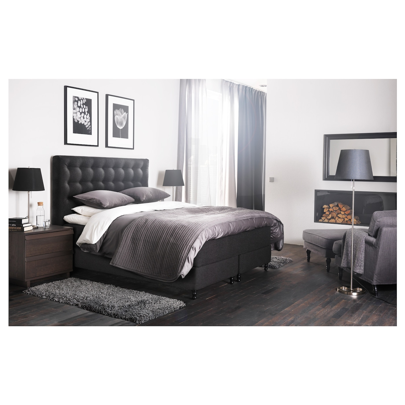 vallavik lit sommier hyllestad ferme tuss y gris 180x200. Black Bedroom Furniture Sets. Home Design Ideas