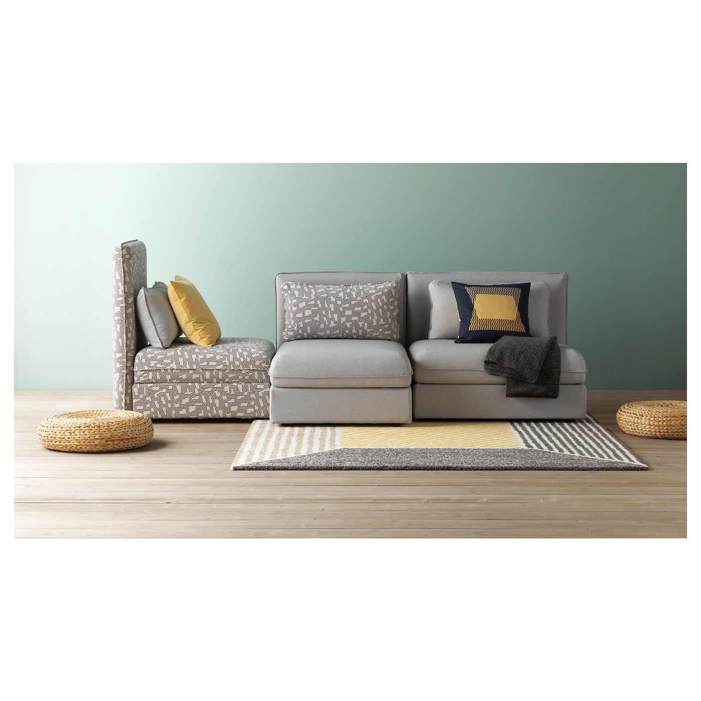 vallentuna canap 3 places couch orrsta gris clair funnarp noir beige ikea. Black Bedroom Furniture Sets. Home Design Ideas