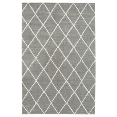 VANTORE Tapis, poils ras, gris/blanc motif diamant, 200x300 cm