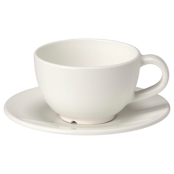 VARDAGEN Tasse à café et soucoupe, blanc cassé, 14 cl