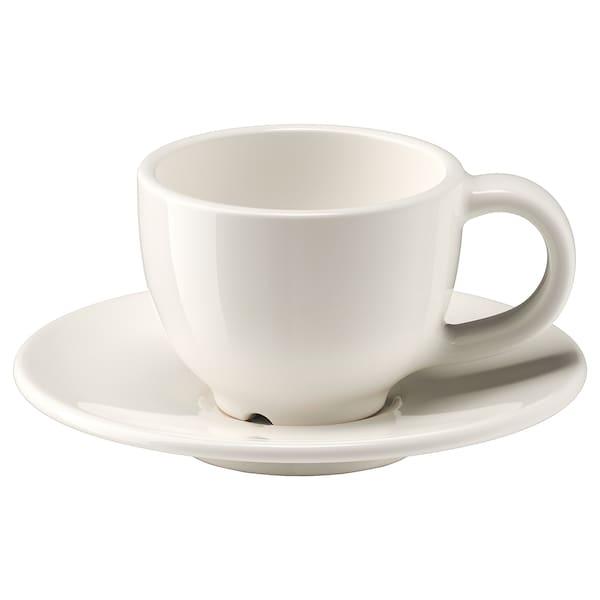 VARDAGEN Tasse à expresso et soucoupe, blanc cassé, 6 cl