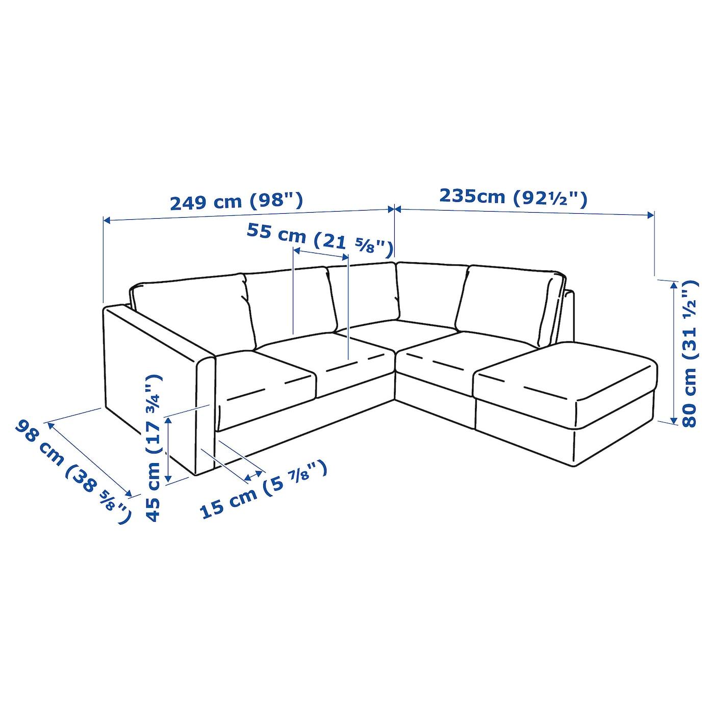 Vimle Canape D Angle 4 Places Sans Accoudoir Gunnared Gris Moyen Ikea