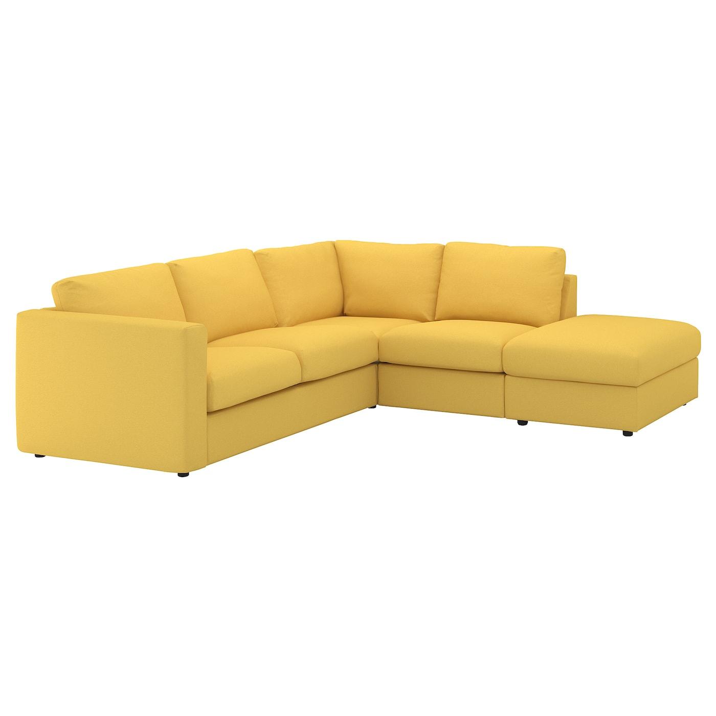 Vimle canap d 39 angle 4 places sans accoudoir orrsta jaune - Housse canape sans accoudoir ...
