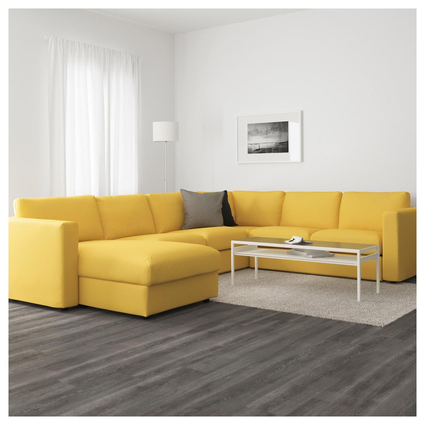 vimle canap d 39 angle 5 places avec m ridienne orrsta jaune dor ikea. Black Bedroom Furniture Sets. Home Design Ideas