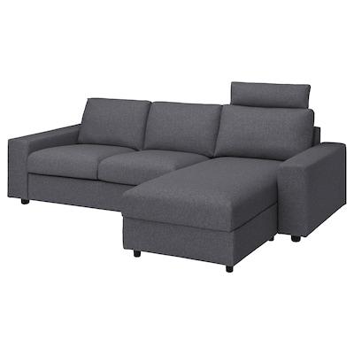 VIMLE Canapé 3 places avec méridienne, avec appuie-tête av accoudoirs larges/Gunnared gris moyen