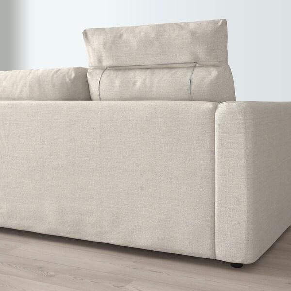 VIMLE Canapé 3 places, avec méridienne avec appuie-tête/Gunnared beige