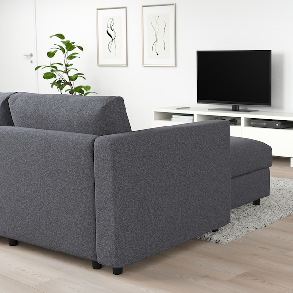 VIMLE Canapé d'angle, 5 places, avec méridienne/Gunnared gris moyen