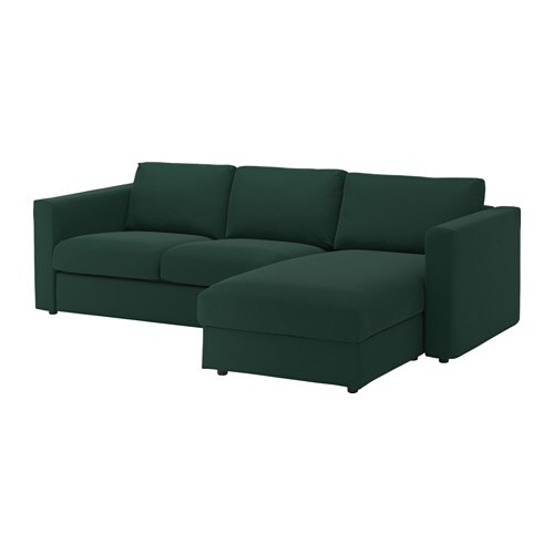 Vimle canap 3 places avec m ridienne gunnared vert - Housse canape 3 places ikea ...